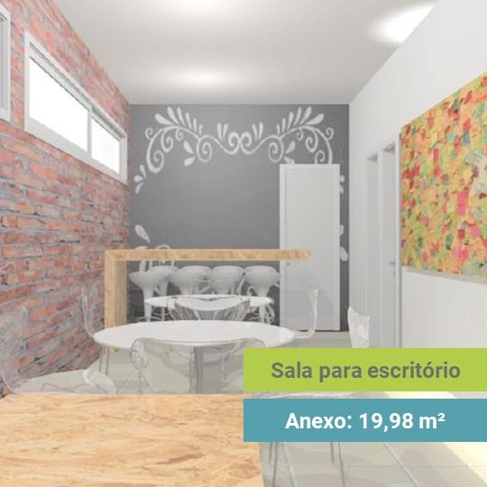 Projeto Arquitetônico de Sala com uma parede grafitada e uma parede de tijolinhos, além de cadeiras e mesas
