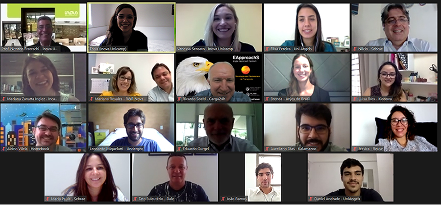 Imagem de captura de tela: Mosaico com os representantes das empresas incubadas que realizaram os pitches e os representantes dos grupos de investimento. Ao todo, compõem o mosaico nove mulheres e 10 homens